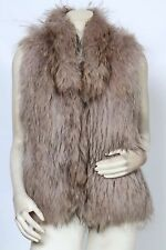 YVES SALOMON Beige Raccoon Fur Knit Shaggy Vest sz M / 38 *MINT* $1,620
