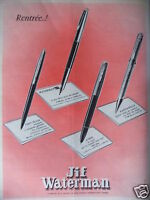 PUBLICITÉ 1958 JIF WATERMAN PANTA-BILLE X'PEN FLAIR - ADVERTISING