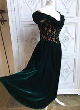 Monsoon TWILIGHT Velvet Dress Ball Medieval Faerie Wedding Vintage 1980s UK 10