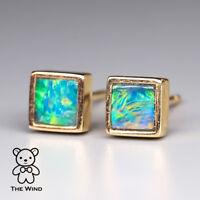 Small Minimalist Square Australian Doublet Opal Stud Earrings 14K Yellow Gold