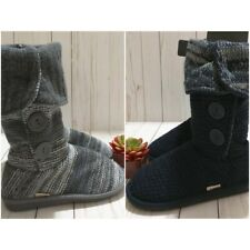 New Muk Luks Dark Blue or Gray Cable Sweater Knit Bootie Slippers Womens Size 6