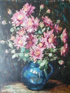 Still Life of Pink Chrysanthemums, Flowers. Elsie May Robson Oil . Listed