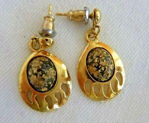 Artisan Gold Plated Dangle Earrings Bear Claw Motif Gold-Leaf Cabochons Pierced