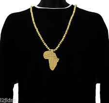 Men Africa Cont. Pendant Wood Hip Hop Ball Beaded 36 Inch Chain Necklace
