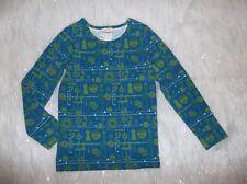 Girls Sz 6 Matilda Jane Blue Green Vintage Sewing Dressmakers Print Top Shirt