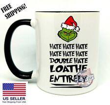 The Grinch, HATE HATE HATE... Christmas Gift, Black Mug 11oz, Coffee/Tea