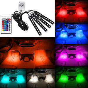 4x 9 LED Remote Control Colorful RGB Car Interior Floor Decorative Light Strip