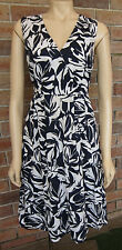 JACQUI.E Navy Blue & White Summer 100% Cotton Party Event Work Dress - Size 12