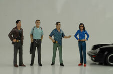 DETECTIVE DETECTIVE POLICE POLIZIA 4 figurines Figura Set 1:18 American Diorama