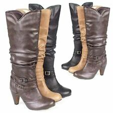 LADIES BIKER BOOTS WOMENS GIRLS SEXY HEELS MID CALF RIDING WINTER SHOES SIZE 3-8