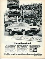 1972 Print Ad Champion Spark Plugs Grumpy Jenkins McCulloch Lilly Woods At Strip