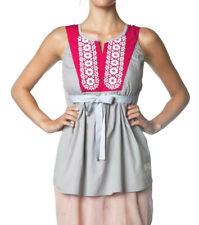 Odd Molly cotton sleveless top #405, grey / pink, sz 2