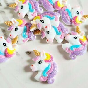 Pack of 10 Glitter Unicorn Flatbacks, Resins for Bow Making, Embellishments