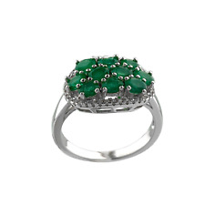 Emerald Green Natural Zambian & White Zircon Sterling Silver 14k White Gold Ring