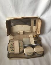 BEAUTIFUL VINTAGE  DRESSING TABLE SET LEATHER CASE MADE IN ENGLAND