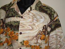 TOES on the NOSE Hawaiian Palms Hula Dancer Large Vintage Shirt