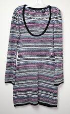 Moda International MultiColor Stripe Metallic Knit Sweater Dress Size: L