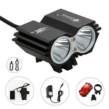 5000Lm 2 XML T6 LED Head Front Bike Bicycle MTB Torch Headlamp Reallight Battery