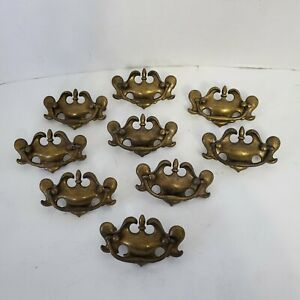Lot of 9 Colonial Style  Brass Finish Dresser Drawer Pulls w Swing Handles - 4""