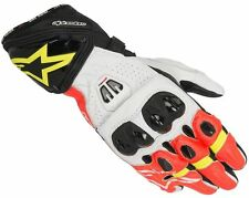 Alpinestars GP PRO R2 Red Fluo Orange Leather Motorcycle Race Gloves 30% OFF