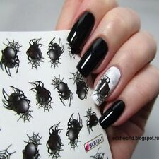 2 Sheets Nail Water Decal Halloween Spider Nail Art Transfer Sticker Decor Tips