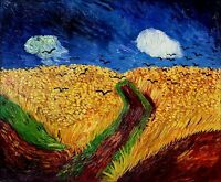 Van Gogh Field with Crows Repro, Quality Hand Painted Oil Painting 20x24in