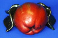 Vintage Pottery apple with leaves, wall hanging ornament *[17297]