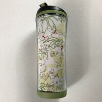 Starbucks Coffee Tumbler Mug 12oz Travel Green 2008 Trees Floral Leaves Abstract