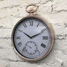 Gold Plastic Home Kitchen Roman Numerals Quartz Wall Pocket Watch Clock Large