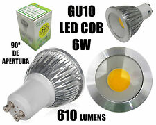 6x BOMBILLAS 90º DE APERTURA LED GU10 6W COB HALOGENO LAMPARA FOCOS APLIQUES