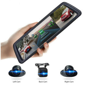 "4CH Cameras lens 10""Android Navi car camera rear view mirror dvr drive recorder"