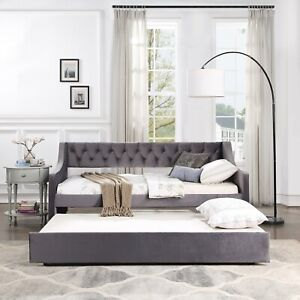 Luxury Daybed Trundle Upholstered Tufted Folding Sofa Bed Twin Size Living Room