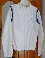 PUMA White WINDBREAKER JACKET Navy & Blue Trim Full Zipper; Light Weight Size S