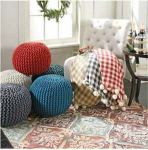 """Gum Drop 100% Cotton Knitted Round 15""""x17"""" Pouf Foot Stool Ottoman"""