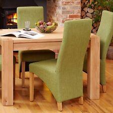 Mobel Oak Full Back Dining Chair Green Pair of 2