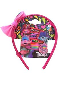 Licensed 5 Piece TROLLS Hair Set Alice Band & 4 Snap Clips Poppy & Branch