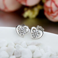 ELEGANT HEART SHAPE STUD EARRINGS W/ LAB DIAMONDS / 925 STERLING SILVER