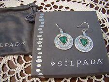 """""""Emerald Isle"""" Earrings W3286 New! Silpada Sterling Silver Green Agate"""