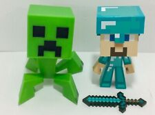 "Notch Mindcraft Creeper and Diamond Steve 6"" Figures Figurine Toy Lot"