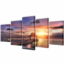 Canvas Wall Print Set Beach with Pavilion 200 x 100 cm