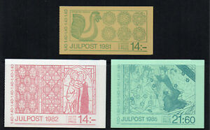 SWEDEN Christmas 3 complete booklets 1981/1982/1985 unmounted mint