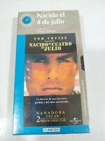 Nacido el Cuatro de Julio Tom Cruise - VHS Cinta Español Nueva - 2T