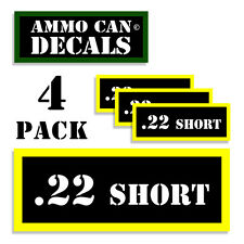 """22 SHORT Ammo Can Label for Ammunition Case 3""""x1.15"""" sticker decal 4 pack BLYW"""