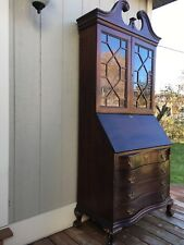 Antique elegant  mahogany bureau wooden bookcase glass cabinet