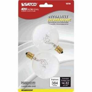 Satco 40W Clear Candelabra Base G16.5 Incandescent Globe Light Bulb (2-Pack)