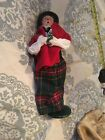 Byers Choice 1989 Lady Caroler Plaid skirt Red Wrap Holding Tree