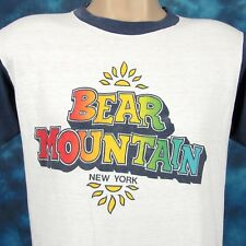 TRASHED vintage 80s BEAR MOUNTAIN NEW YORK RAINBOW PAPER THIN JERSEY T-Shirt S
