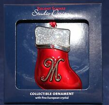 "LETTER ""M"" SANTA STOCKING CHRISTMAS ORNAMENT Regent Square Monogram Crystals NEW"