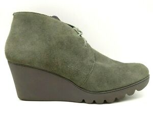 Donald Pliner Maka Green Suede Leather Wedge Lace Up Ankle Boots Women's 9 M