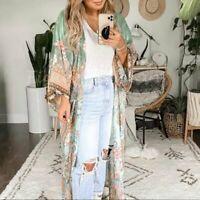 XL Bohemian Floral Kimono Maxi Duster Jacket Gypsy Robe Vtg 70s Insp X-LARGE NWT